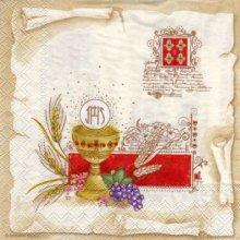 Serviette papier communion + calice + blé 33 cm x 33 cm