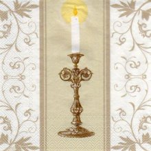 Serviette papier communion + calice + cierge  33 cm x 33 cm