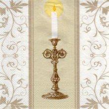 Serviette papier communion + calice + cierge  33 cm x 33 cm