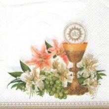 Serviette papier communion + calice + fleurs 33 cm x 33 cm