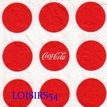 Serviette papier Pub Coca Cola 25 cm x 25 cm pour collection