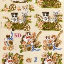 Feuilles à découper 3D chats et fleurs