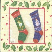 Serviette papier Noël et chaussette 33 cm X 33 cm 3 plis