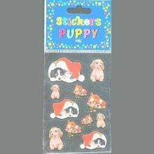 Stickers 3 D chiots Puppy avec bonnet Noël