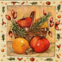 Serviette papier motif citrouille de 33 cm X 33 cm 3 plis