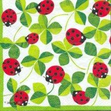 Serviette papier coccinelle et feuilles 33 cm X 33 cm 3 plis