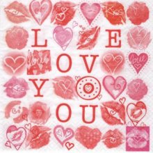 Serviette papier coeur I Love you 33 cm X 33 cm 2 plis
