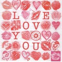 Serviette papier coeur I Love you 33 cm X 33 cm 2 plis