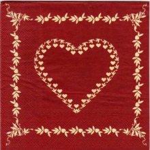 Serviette papier coeur et pommes 33 cm X 33 cm 3 plis