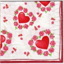 Serviette papier coeur et roses 33 cm X 33 cm 3 plis