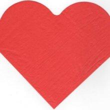 Serviette papier coeur rouge 33 cm X 33 cm 2 plis