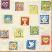 Serviette papier communion + colombe et pain 33 cm x 33 cm