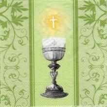 Serviette papier communion et cierge 33 cm x 33 cm