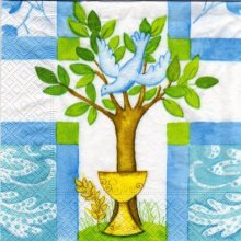 Serviette papier communion + calice 33 cm x 33 cm 3 plis