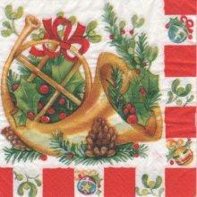 Serviette papier cor et Noël 33 cm X 33 cm 3 plis