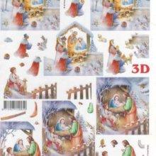 Feuilles 3D crèche de Noël et roi mages