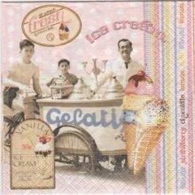 Serviette crème glacée Gélati 25 cm x 25 cm 3 plis