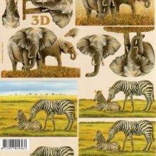 Feuilles à découper 3D Eléphants et zébres