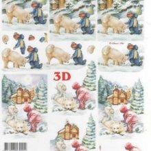 Feuilles 3D enfant et chien