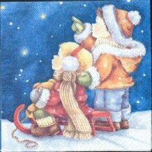 Serviette papier  motif Noël et enfants 33 cm X 33 cm 3 plis