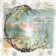 Serviette papier fleurs blanche et hiver 33 cm X 33 cm 2 plis