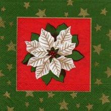 Serviette papier fleurs blanche vivace de 33 cm X 33 cm