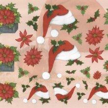 Feuilles 3D fleurs de Noël et bonnet de lutins