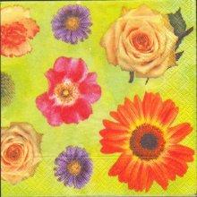 Serviette papier motif fleurs divers 33 cm X 33 cm 3 plis