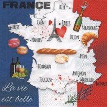 Serviette papier France et régions  33 cm X 33 cm 3 plis