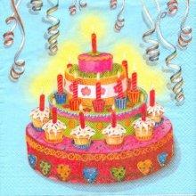 Serviette papier motif anniversaire et gâteau