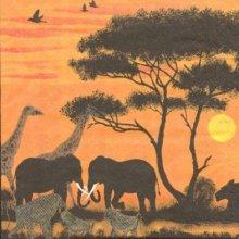 Serviette papier girafes et éléphants 33 cm X 33 cm 3 plis
