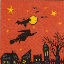 Serviette papier Halloween et sorciere 33 cm X 33 cm 3 plis