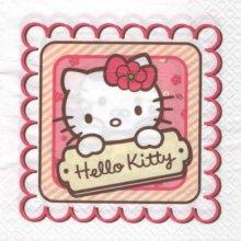 Serviette Hello Kitty + cadre de 33 cm X 33 cm 3 plis