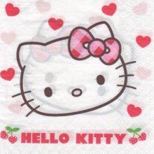 Serviette Hello Kitty et cerise de 33 cm X 33 cm 2 plis