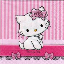 Serviette Hello Kitty charmmy 33 cm X 33 cm 2 plis