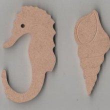 Hippocampe MDF à peindre 70 mm x 40 mm