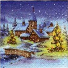 Serviette papier Hiver et Noël 33 cm X 33 cm 3 plis
