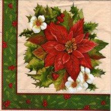 Serviette papier Houx et fleurs rouge 33 cm X 33 cm 3 plis