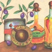 Serviette papier motif huile et olives 33 cm X 33 cm 3 plis