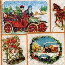 Serviette papier train de Noël 33 cm X 33 cm 3 plis