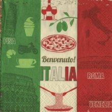 Serviette papier Italia Benvenuto  33 cm X 33 cm 3 plis