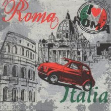 Serviette papier Italie et Rome  33 cm X 33 cm 3 plis