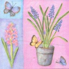 Serviette papier motif fleurs jacinthe 33 cm X 33 cm 3 plis