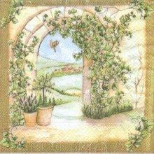 Serviette papier  motif jardin d'été 33 cm X 33 cm 3 plis