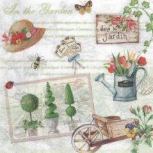 Serviette papier jardin et fleurs de 33 cm X 33 cm 3 plis