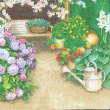 Serviette papier  motif jardin 33 cm X 33 cm 3 plis
