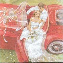 Serviette papier motif mariage jeunes maries