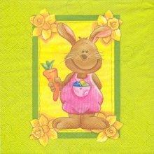 Serviette papier motif lapin de Pâques joyeux