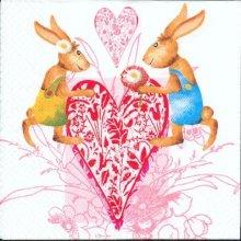 Serviette papier motif lapins de Paques coeur