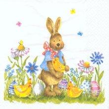 Serviette papier motif lapins de Paques et fleurs bleue